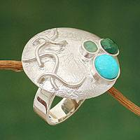 Amazonite and chrysocolla cocktail ring, 'Flourishing' - Amazonite and chrysocolla cocktail ring