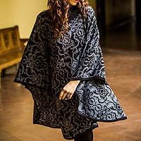 Alpaca blend reversible poncho, 'Sublime Black' - Alpaca Blend Decorative Poncho