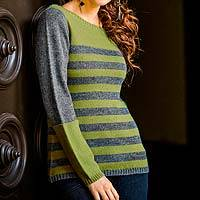 Alpaca blend sweater, 'Arequipa Elegance' - Alpaca Blend Striped Pullover Sweater
