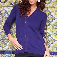 Cotton and alpaca blend cardigan, 'Nazca Violet' - Peruvian Cotton and Alpaca Wool Women's Cardigan