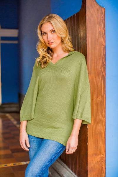 Alpaca blend hooded pullover, 'Green Trujillo Lady' - Alpaca Blend Hooded Pullover from Peru