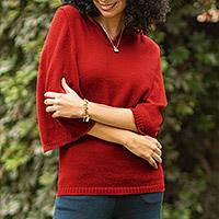 Alpaca blend hoodie sweater, 'Red Trujillo Lady' - Alpaca blend hoodie sweater