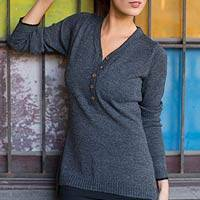 Alpaca blend sweater, 'Cuzco Gray' - Alpaca Blend Pullover Sweater