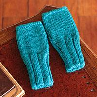 Alpaca blend fingerless gloves, 'Paron Lake' - Alpaca blend fingerless gloves