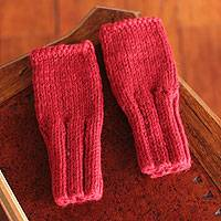 Alpaca blend fingerless mitts, 'Andean Passion' - Alpaca Blend Fingerless Mitts