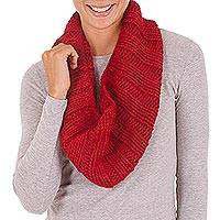 Alpaca blend neck warmer, 'Cozy Crimson' - Alpaca blend neck warmer