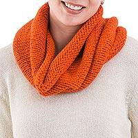 Alpaca blend neck warmer, 'Abundant Orange' - Alpaca blend neck warmer