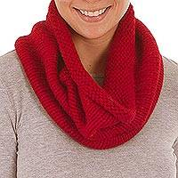 Alpaca blend neck warmer, 'Abundant Crimson' - Alpaca blend neck warmer