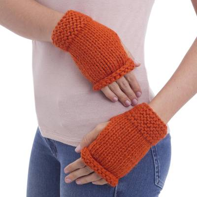 Alpaca blend fingerless mitts, Ginger Orange