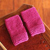 Alpaca blend fingerless gloves, 'Festive Fuchsia' - Alpaca blend fingerless gloves