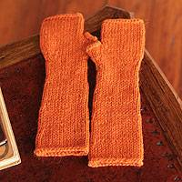 Alpaca blend fingerless gloves, 'Long Ginger Orange' - Alpaca blend fingerless gloves
