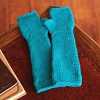 Alpaca blend fingerless gloves, 'Long Turquoise Beauty' - Alpaca blend fingerless gloves