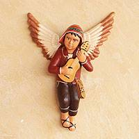 Ceramic wall decor, 'Angelic Andean Guitarist' - Handcrafted Ceramic Andean Angel Wall Decor from Peru