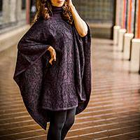 Alpaca blend reversible poncho, 'Sublime Purple' - Unique Alpaca Wool Blend Poncho