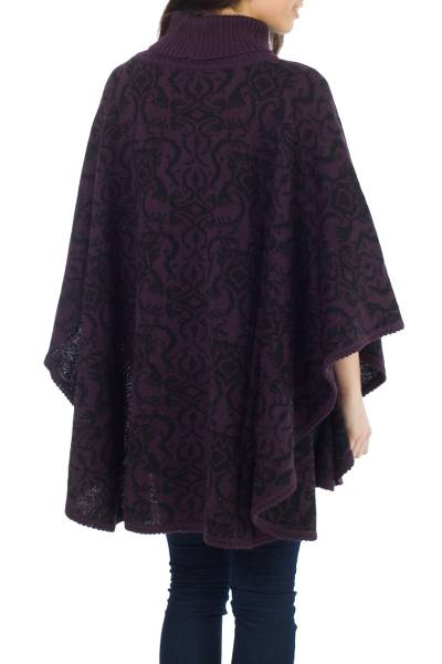 Alpaca blend reversible poncho, 'Sublime Purple' - Alpaca Wool Blend Patterned Poncho from Peru