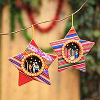 Cotton blend ornaments, 'Holy Family Stars' (pair) - Cotton blend ornaments (Pair)