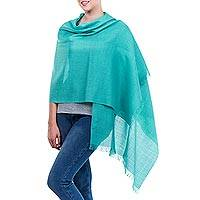 Alpaca and silk shawl, 'Trujillo Turquoise' - Hand Made Alpaca Wool Turquoise Lightweight Wrap Shawl