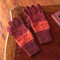 100% alpaca gloves, 'Diamond of the Andes' - Handmade Alpaca Wool Patterned Gloves