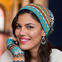 100% alpaca hat, 'Ancash Fantasy' - Alpaca Wool Women's Multicolor Knit Hat