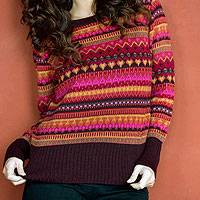 100% alpaca sweater, 'Fiesta in Cuzco' - Alpaca Wool Art Knit Pullover Sweater