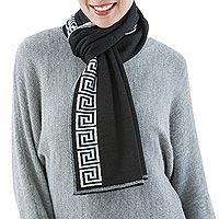 100% alpaca scarf, 'Peruvian Nocturne' - Unique Alpaca Wool Patterned Scarf