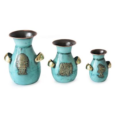 Copper and bronze vases, 'Inca Inheritance' (set of 3) - Unique Archaeological Copper Bronze Vase (Set of 3)
