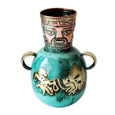 Copper and bronze vase, 'Inca Fishermen' - Handcrafted Inca Bronze and Copper Vase