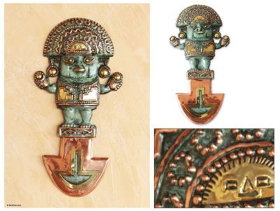 Bronze and copper wall sculpture, Our Tumi