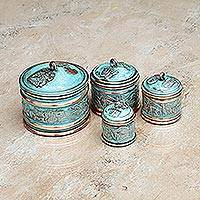 Copper stackable boxes, 'Andean Trail' (set of 4)