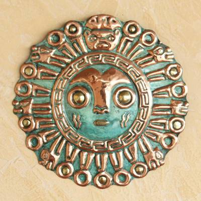 Copper and bronze mask, 'Coricancha Sun' - Hand Made Archaeological Bronze and Copper Mask