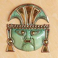 Copper and bronze mask, 'Moche God Great Ai Apaec' - Handmade Archaeological Copper and Bronze Mask