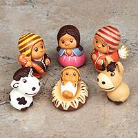 Ceramic nativity scene, 'Happy Welcome' (set of 7) - Handcrafted 7 Piece Nativity Scene Set Ceramic Sculptures