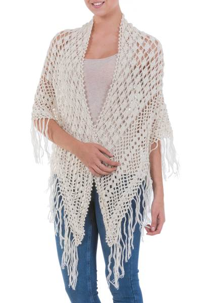100% alpaca shawl, 'Amazon Ivory' - Handcrafted Alpaca Wool Crocheted Shawl