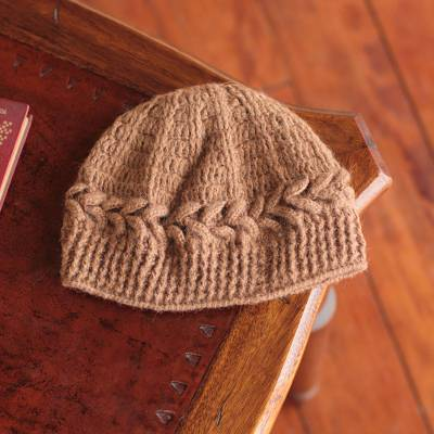100% alpaca hat, 'Cajamarca Brown' - Handmade Alpaca Wool Solid Brown Beanie Hat