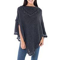 Alpaca blend poncho, 'Arequipa Gray' - Hand Crafted Peruvian Alpaca Wool Blend Poncho