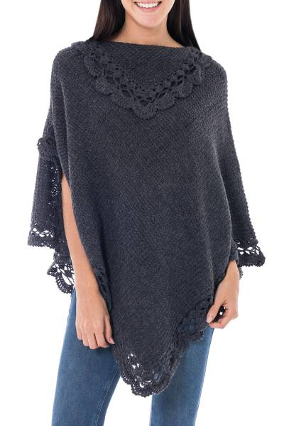 Hand Crafted Peruvian Alpaca Wool Blend Poncho
