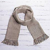 Men's 100% alpaca scarf, 'Fortitude in Beige' - Men's 100% alpaca scarf