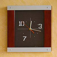 Pinewood and aluminum wall clock, 'On Time' - Modern Aluminum and Wood Clock