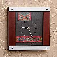 Pinewood and aluminum wall clock, 'On Cuzco Time' - Pinewood and aluminum wall clock