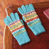 100% alpaca gloves, 'Ancash Fantasy' - Artisan Crafted Alpaca Wool Patterned Gloves