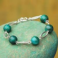 Chrysocolla link bracelet, 'Eye of the Andes' - Modern Sterling Silver and Chrysocolla Link Bracelet