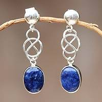 Sterling silver dangle earrings, 'Tangled-Up' - Hand Crafted Modern Sterling Silver Dangle Sodalite Earrings