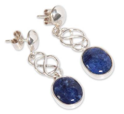 Hand Crafted Modern Sterling Silver Dangle Sodalite Earrings