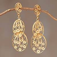 Gold plated dangle earrings, 'Filigree Beauty' - Hand Crafted 21K Gold Plated on Sterling Dangle Earrings