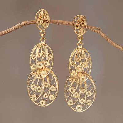 Gold plated dangle earrings, Filigree Beauty