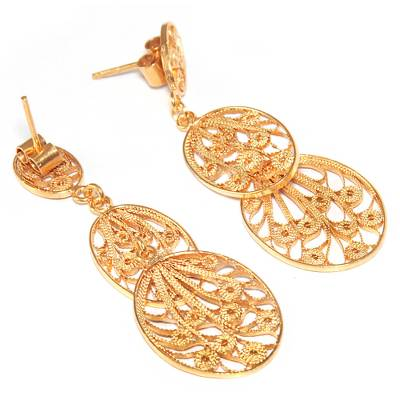 Hand Crafted 21K Gold Plated on Sterling Dangle Earrings