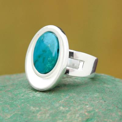 silver ring sotn tyrfing - Modern Sterling Silver Single Stone Chrysocolla Ring