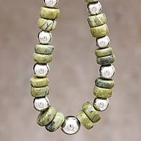 Serpentine beaded necklace, 'Dreams of Peace' (Peru)