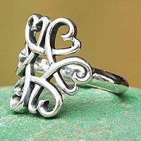 Sterling silver cocktail ring, 'Hearts Together' (Peru)