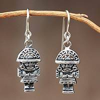 Sterling silver dangle earrings, 'Ancient Warriors' - Sterling Silver Dangle Earrings
